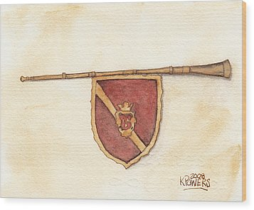 Heraldry Trumpet Wood Print by Ken Powers