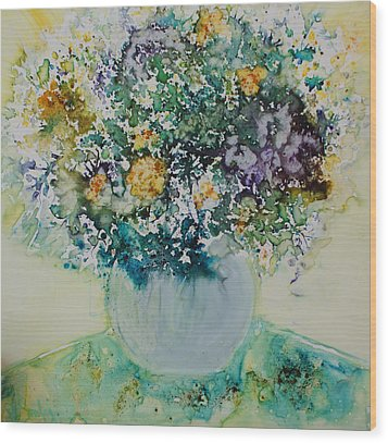 Wood Print featuring the painting Herbal Bouquet by Joanne Smoley