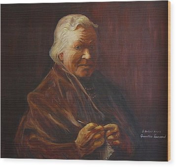 Wood Print featuring the painting Herbert Abrams Mother by Quwatha Valentine