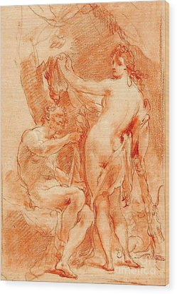 Wood Print featuring the painting Hercules And Omphale by Pg Reproductions