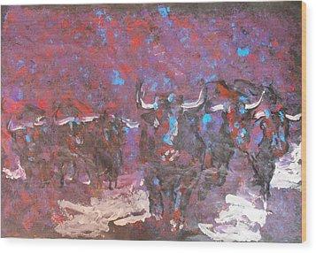Herd Of Bulls Wood Print