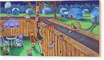 Herding Cats - Pembroke Welsh Corgi Wood Print by Lyn Cook