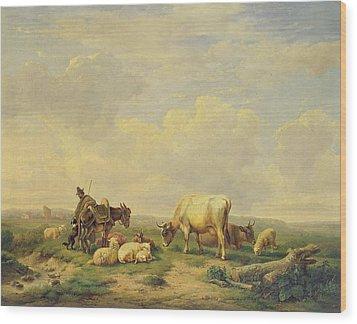 Herdsman And Herd Wood Print by Eugene Joseph Verboeckhoven