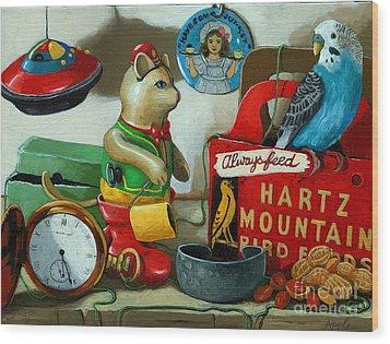 Here Birdie Birdie Wood Print by Linda Apple