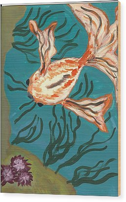 Here Fishy Fishy Wood Print by Laura Lillo