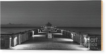 Wood Print featuring the photograph Here It Comes Folly Beach Pier Sunrise Art by Reid Callaway