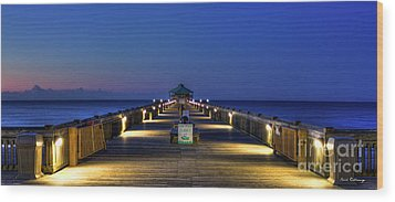 Wood Print featuring the photograph Here It Comes Now Folly Beach Pier Sunrise Art by Reid Callaway