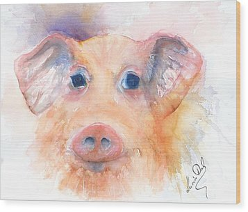 Here Piggy Wood Print by Lucia Del