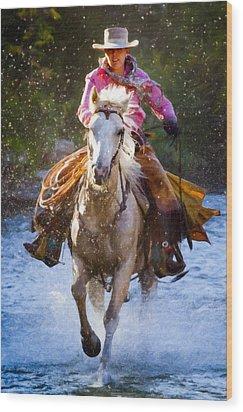 Here She Comes Wood Print by Janet Fikar