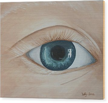 Wood Print featuring the painting Heres Looking At You by Betty-Anne McDonald