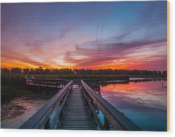 Wood Print featuring the photograph Heritage Boardwalk Twilight by Chris Bordeleau