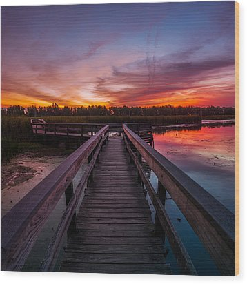 Wood Print featuring the photograph Heritage Boardwalk Twilight - Square by Chris Bordeleau