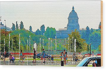 Wood Print featuring the photograph Heritage Park Fountain by Larry Keahey