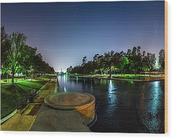 Hermann Park Reflecting Pool In Houston Texas Wood Print