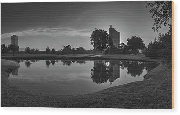Wood Print featuring the photograph Hermann Park Sunrise Black And White by Joshua House