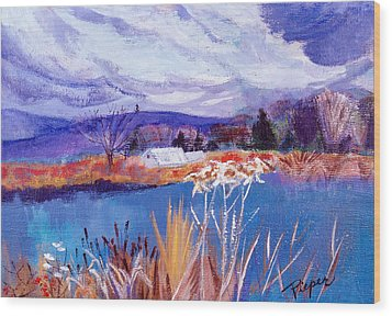 Wood Print featuring the painting Herman's Pond by Betty Pieper