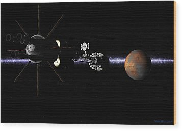 Wood Print featuring the digital art Hermes1 In Sight Of Mars by David Robinson