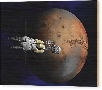Wood Print featuring the digital art Hermes1 Orbit Insertion by David Robinson