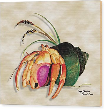 Wood Print featuring the painting Hermit Crab In Green Shell by Anne Beverley-Stamps