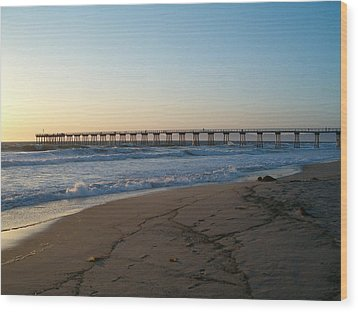 Hermosa Beach Pier At Sunset Wood Print by Mark Barclay