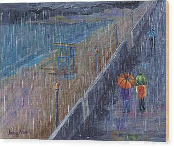 Wood Print featuring the painting Hermosa Beach Rain by Jamie Frier