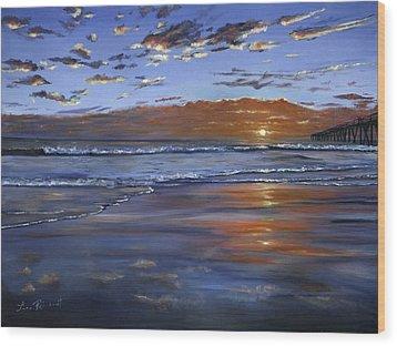 Hermosa Sunset Wood Print by Lisa Reinhardt