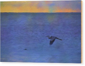 Wood Print featuring the photograph Heron Across The Sea by Jan Amiss Photography