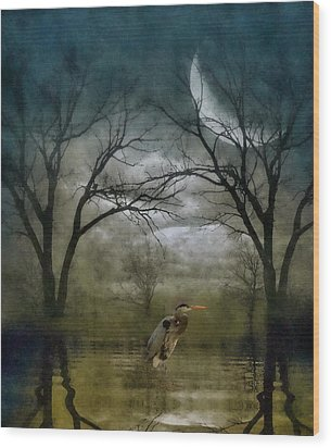 Heron By Moon Glow  Wood Print