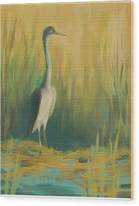 Heron In The Reeds Wood Print by Renee Kahn
