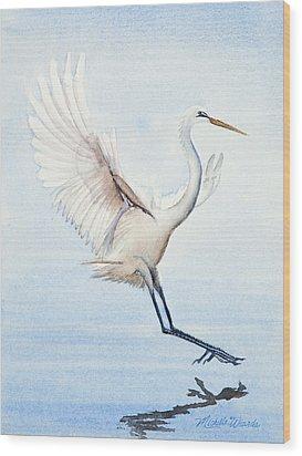 Heron Landing Watercolor Wood Print by Michelle Wiarda