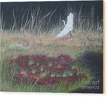 Heron Over Autumn Marsh Wood Print by Cindy Lee Longhini