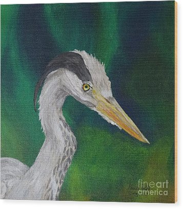 Heron Painting Wood Print by Isabel Proffit