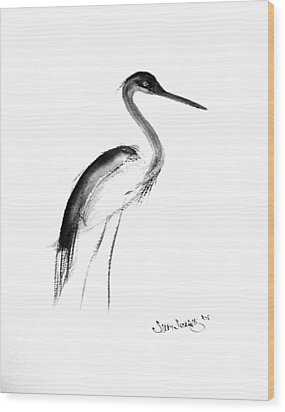 Heron Wood Print by Sibby S