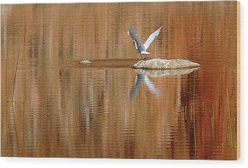 Heron Tapestry Wood Print