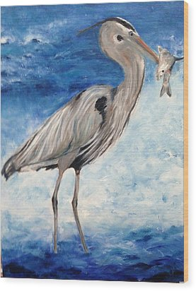 Heron With Fish Wood Print