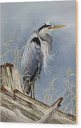 Wood Print featuring the painting Herons Windswept Shore by James Williamson
