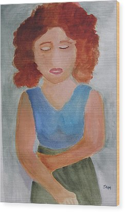 Wood Print featuring the painting Herself by Sandy McIntire