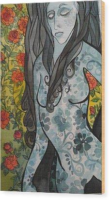 Hesitation Wood Print by Claudia Cole Meek