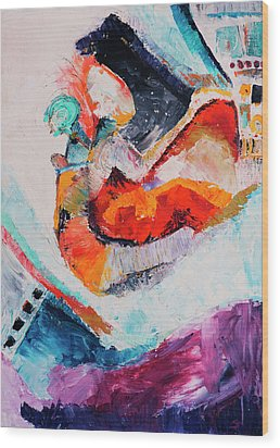Wood Print featuring the painting Hey Mr. Spaceman by Stephen Anderson