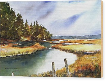 Wood Print featuring the painting Heyer Pt   Vashon Wa by Marti Green