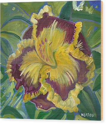 Wood Print featuring the painting Hibiscus 2 by John Keaton
