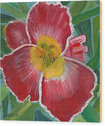 Wood Print featuring the painting Hibiscus 3 by John Keaton