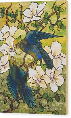 Hibiscus And Parrots Wood Print by Louis Comfort Tiffany