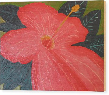 Hibiscus Wood Print by Barbara Yearty