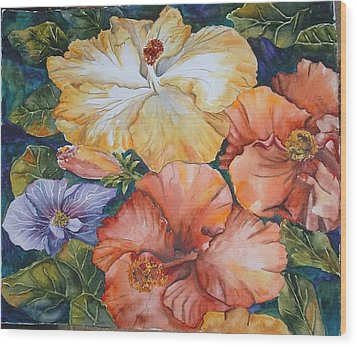 Hibiscus Wood Print by Diane Ziemski