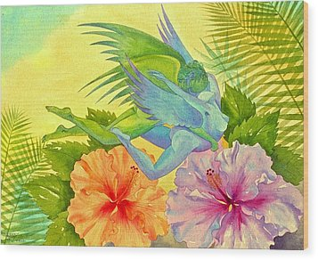 Hibiscus Faeries Wood Print by Jennifer Baird