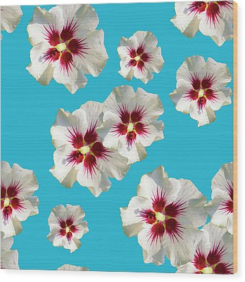 Wood Print featuring the mixed media Hibiscus Flower Pattern by Christina Rollo
