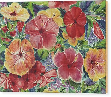 Hibiscus Impressions Wood Print by Patti Bruce - Printscapes