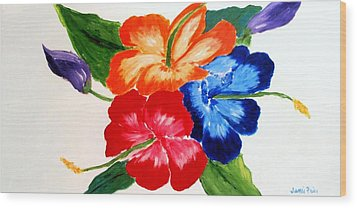 Hibiscus Wood Print by Jamie Frier