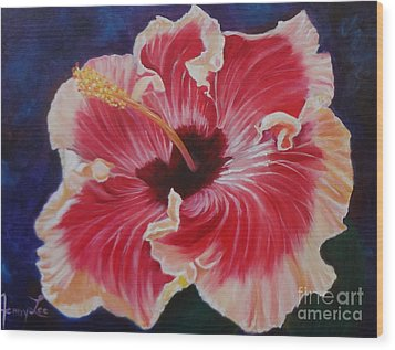 Wood Print featuring the painting Hibiscus by Jenny Lee